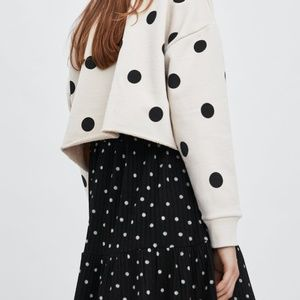 Zara Tops - NWT: ZARA Polkadot Printed Cropped Sweatshirt